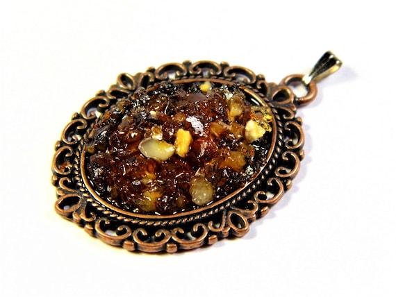 Natural genuine authentic real honey / cognac Baltic Sea Amber stone mosaic pendant authentic vintage retro style women's jewelry 1271