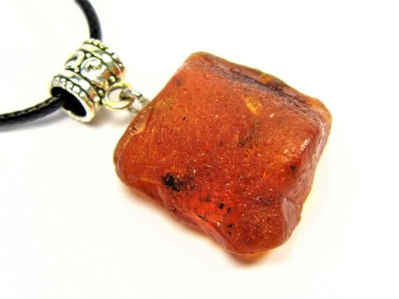 Raw Baltic Amber stone pendant necklace 7.5 grams natural genuine men's women's unisex unique jewelry authentic 3702