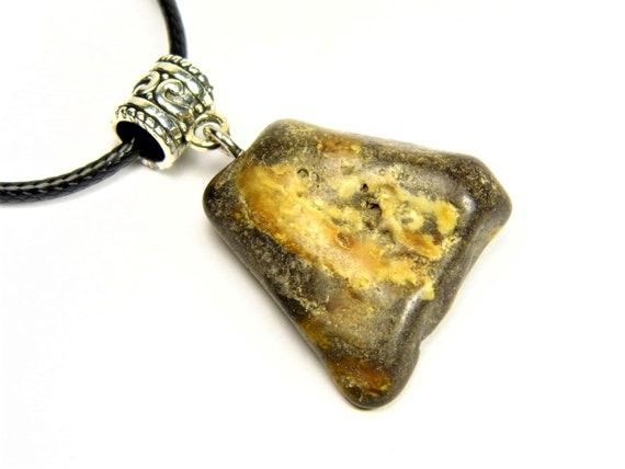 Black / brown Baltic Amber stone pendant necklace natural genuine men's women's unisex 6.1 grams unique jewelry authentic 3570