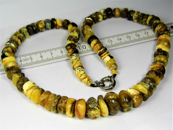 Baltic Amber black / yellow / butterscoch / egg yolk / brindled stones natural genuine unique authentic necklace jewelry 818a