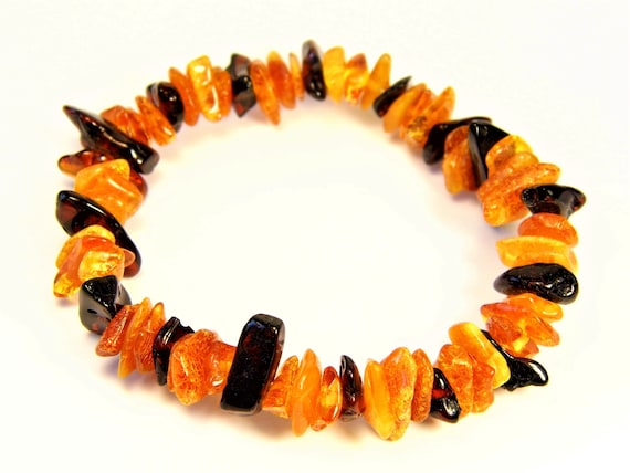 Baltic Amber multicolor bracelet natural genuine stones stretchable 8.8gr men's / women's / unisex jewelry authentic unique gemstone 1067a