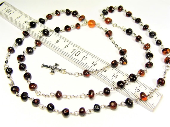 Natural genuine real Baltic Amber gemstone catholic christian rosary chaplet authentic unique jewelry 13 grams  FREE SHIPPING 2986
