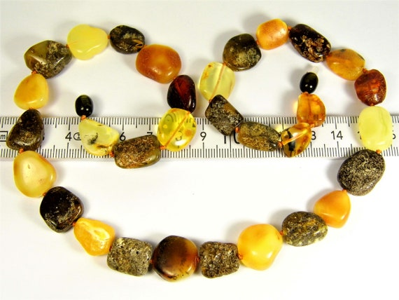 Multi-color natural genuine real Baltic Amber gemstone necklace authentic women's jewelry 27 grams / 21 inch FREE SHIPPING 882a