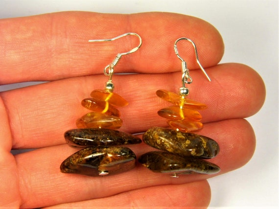 Baltic Amber black and transparent stones earrings natural genuine real authentic women's jewelry 6.9 grams FREE SHIPPING 2400