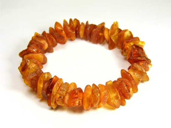 Baltic Amber bracelet natural genuine stones stretchable 16 grams men's / women's / unisex jewelry authentic unique gemstone 1056a