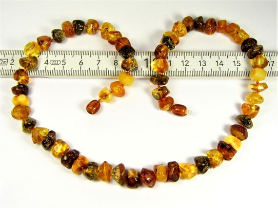 Multi-color natural genuine real Baltic Amber gemstone necklace authentic women's jewelry 21 grams / 19 inch FREE SHIPPING 795a