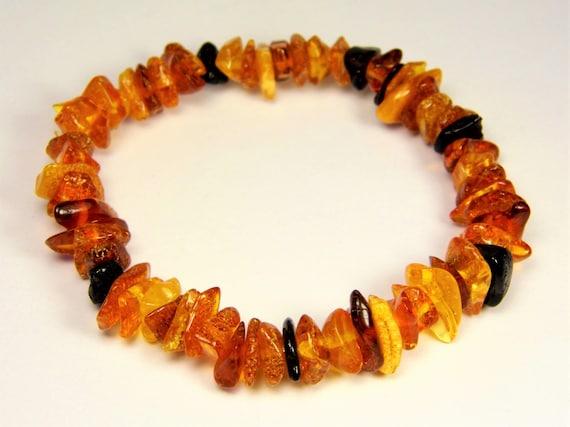 Baltic Amber bracelet natural genuine brown stones stretchable 8.9gr men's / women's / unisex jewelry authentic unique gemstone 1086a