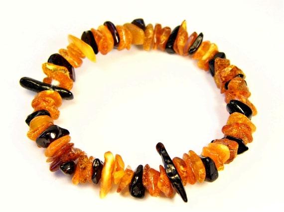 Baltic Amber multicolor bracelet natural genuine stones stretchable 8.9gr men's / women's / unisex jewelry authentic unique gemstone 1068a