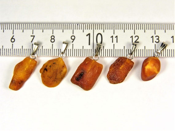 Lot of 5 natural genuine raw unpolished Baltic Sea Amber stone pendants brown color 2.8 grams authentic women's jewelry FREE SHIPPING! 2684