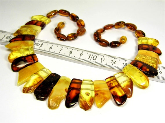 Multicolor natural genuine Baltic Amber handmade unique collar necklace 29 grams authentic women's jewelry 3303