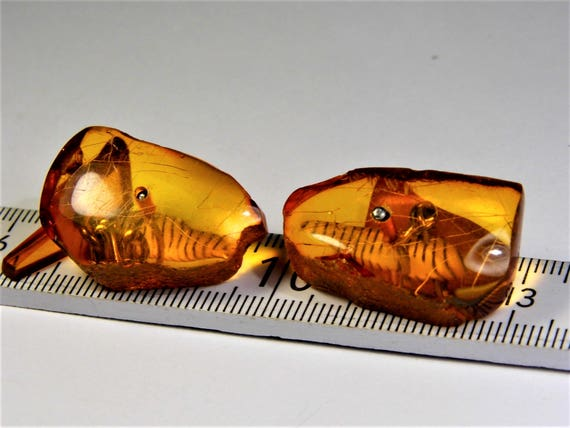 Natural Baltic Amber old vintage antique cognac / honey / transparent color cuff-links authentic genuine men's jewelry FREE SHIPPING 1722