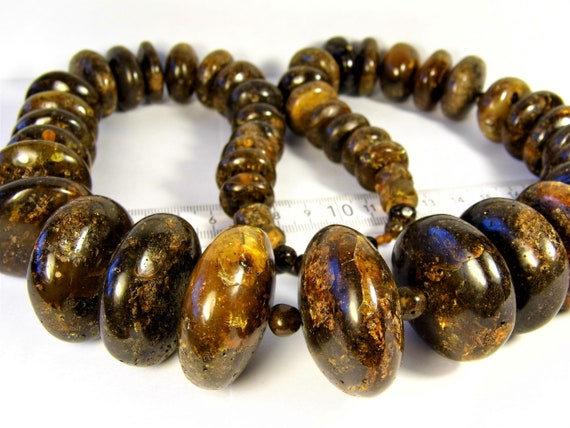 Black color natural genuine real Baltic Amber stones handmade unique large 280 grams massive necklace authentic women's jewelry