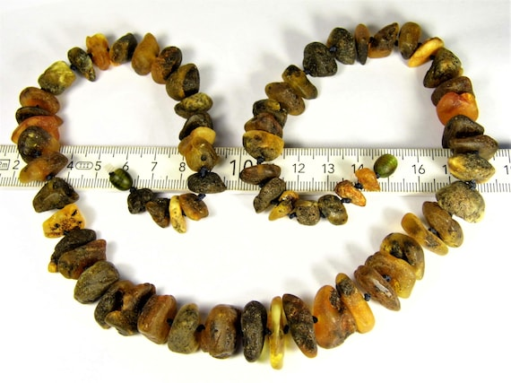 Natural genuine real Baltic Amber raw unpolished rough stones handmade unique necklace authentic men's / women's / unisex jewelry 774a