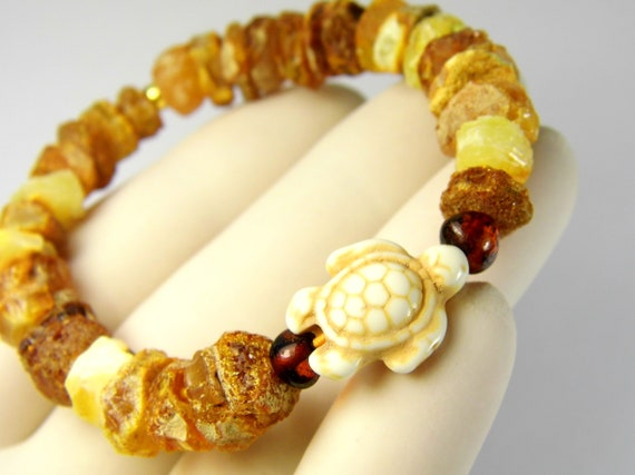 Raw rough natural genuine unpolished Baltic Amber stones bracelet with turtle 10 grams authentic unique women's jewelry 3014