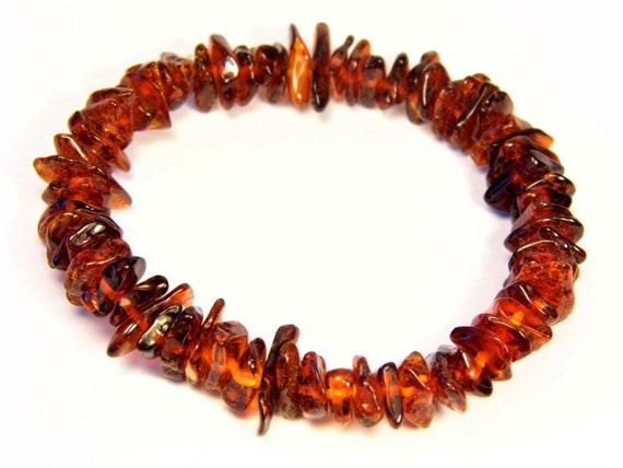 Baltic Amber bracelet natural genuine brown stones stretchable 9gr men's / women's / unisex jewelry authentic unique gemstone 1080a