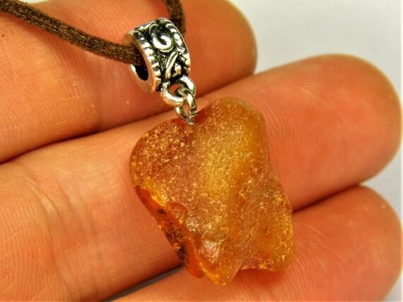 Raw unpolished genuine Baltic Amber necklace pendant natural stone 5.2 gram rough authentic men's women's unisex jewelry 2631