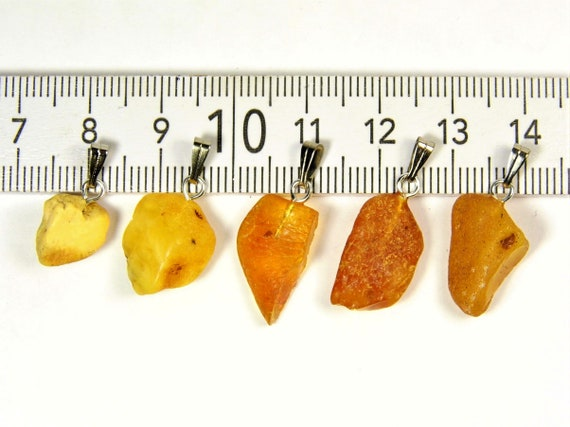 Lot of 5 natural genuine raw unpolished Baltic Sea Amber stone pendants multi-color 2.9 grams authentic women's jewelry FREE SHIPPING! 2706