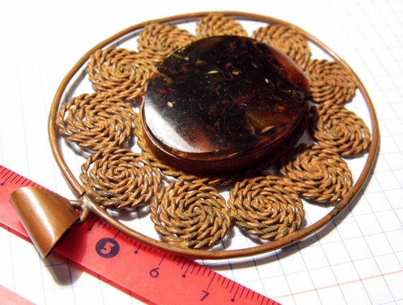Huge old vintage antique retro Pressed Baltic Amber and Copper pendant hand-made filigree technique jewelry 35 grams FREE SHIPPING 1568