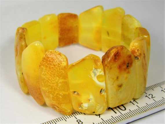 Butterscotch egg yolk yellow Baltic Amber stones natural genuine unique authentic women's bracelet jewelry 28gr. / 7 inch FREE SHIPPING 820a