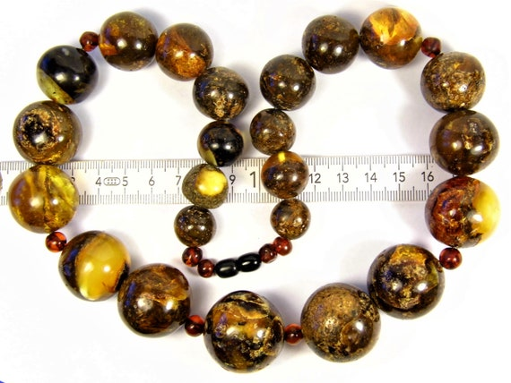 Natural genuine real Baltic Amber round stones handmade unique 139 grams massive necklace authentic women's jewelry