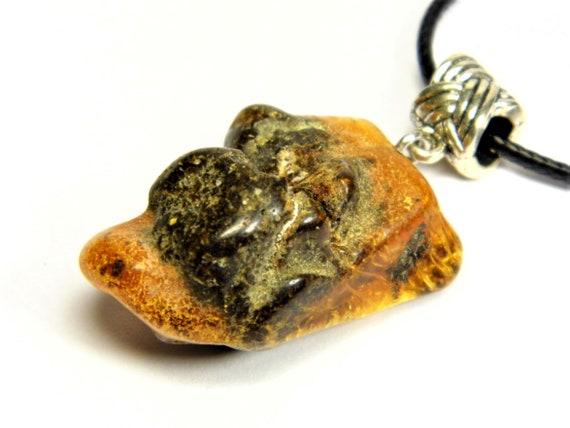 Black / brown Baltic Amber stone pendant necklace natural genuine men's women's unisex 9.6 grams unique jewelry authentic 3573