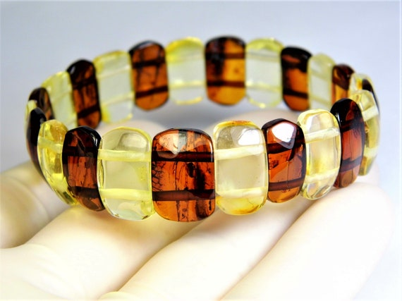 Baltic Amber natural genuine stone bracelet transparent 9.3 grams multicolor authentic unique women's jewelry 3485