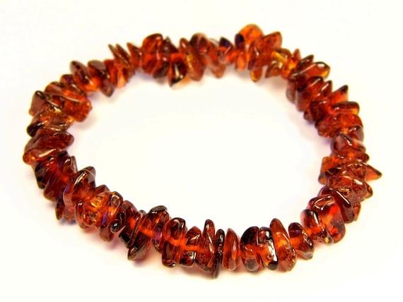 Baltic Amber bracelet natural genuine brown stones stretchable 8.8gr men's / women's / unisex jewelry authentic unique gemstone 1082a