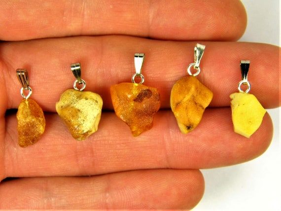 Lot of 5 natural genuine raw unpolished Baltic Sea Amber stone pendants multi-color 2.8 grams authentic women's jewelry FREE SHIPPING! 2700