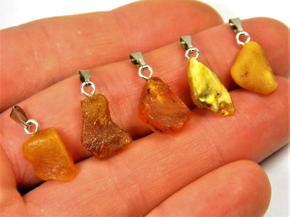 Lot of 5 natural genuine raw unpolished Baltic Sea Amber stone pendants multi-color 2.2 grams authentic women's jewelry FREE SHIPPING! 2689