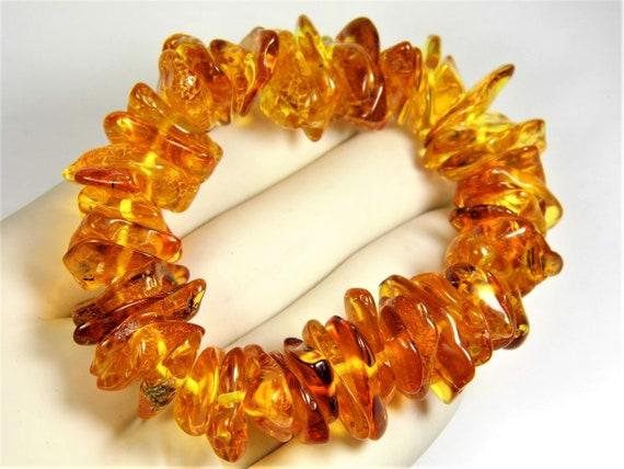 Natural genuine Baltic Amber stretchable bracelet cognac / honey / transparent 27 grams authentic unique women's jewelry 2965
