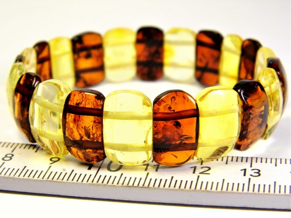 Baltic Amber natural genuine stone bracelet transparent 9.4 grams multicolor authentic unique women's jewelry 3484