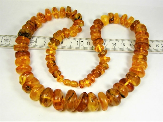 Cognac / honey / transparent natural genuine Baltic Amber unique necklace authentic women's jewelry 71 grams / 24.5 inch FREE SHIPPING 801a