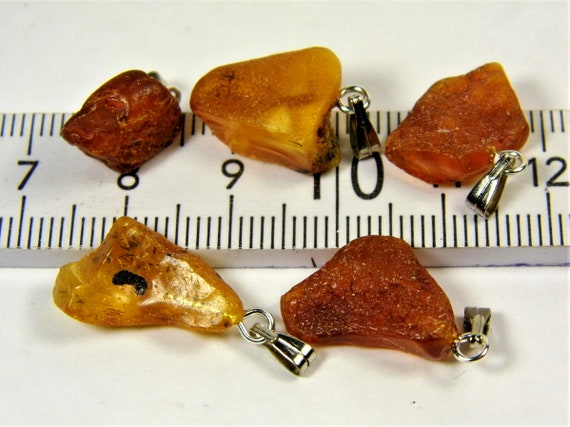 Lot of 5 natural genuine raw unpolished Baltic Sea Amber stone pendants brown 3 grams authentic women's jewelry FREE SHIPPING! 2693