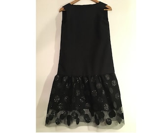 Black Polka Dot Dress Cotton Glitter Party
