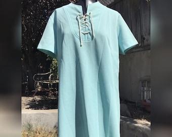 0f83c5d88cd1e Vintage 1960s 60s Baby Blue Smock Dress w/ Lace Up Twiggy Style Mod S M/L  Hippie Robin Egg Lolita Babydoll