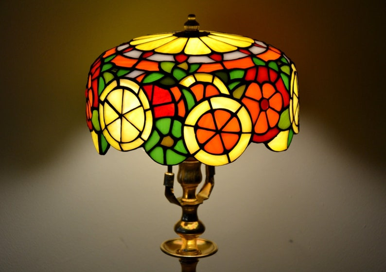 Delicieux Citrus Tiffany Lamp. Stained Glass Shade. Handmade Table Lamp. Tiffany  Lampshade. Dinner Table Lamp. Home Decor. Stained Glass Art. Lemon