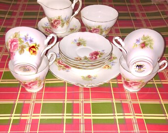 Vintage Regency Bone China Roses Tea Cup Set