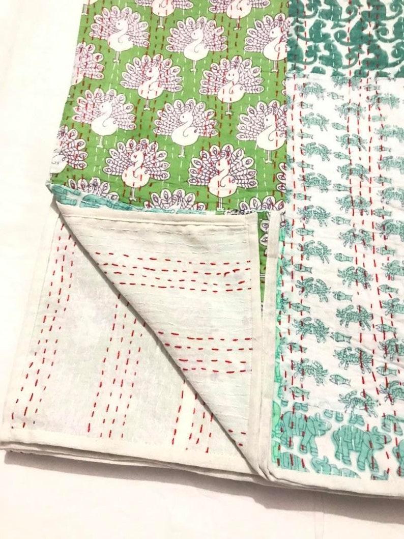 Patchwork Indian Handmade Kantha Quilt Kantha Bedspread Kantha Throw Cotton Blanket Ralli Gudari Twin !!/_61