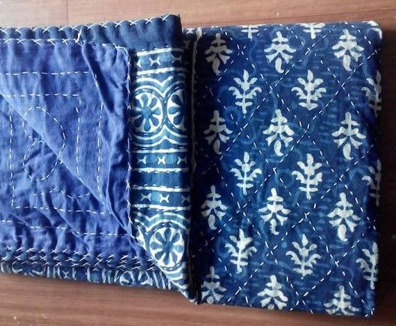 Queen Indian Handmade Quilt Kantha Blanket Bedspread Throw Cotton Blanket Gudri