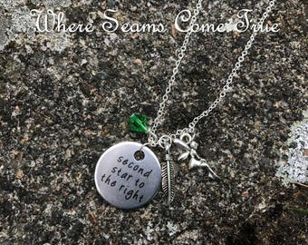 Peter Pan Quote Necklace (Second Star to the Right)