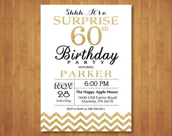 Surprise 60th Birthday Invitation Glitter Gold And White Chevron 50th Any Age Adult Men Or Women Bday Printable Digital