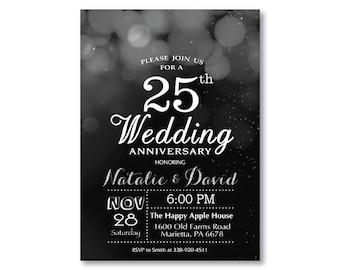 White Bokeh Silver Glitter 20Th Personalised Anniversary Party Invitations