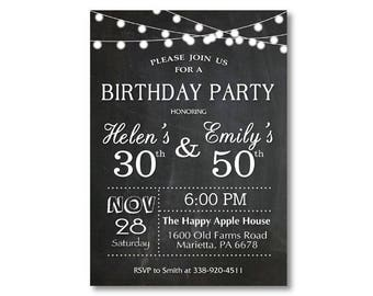 Joint birthday etsy adult joint birthday invitation joint birthday party invitation combined party co birthday black and white chalkboard printable digital filmwisefo