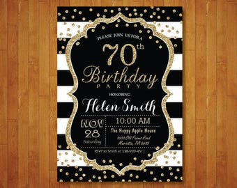 70th Birthday Invitation For Women Surprise Black And Gold Glitter Stripes Confetti Any Age Printable Digital