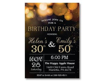 Joint birthday etsy adult joint birthday invitation joint birthday party invitation combined party co birthday gold glitter glam printable digital filmwisefo