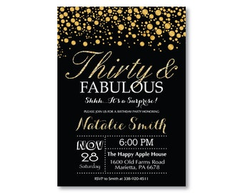 Surprise 30th Birthday Invitation Black And Gold Glitter Thirty Fabulous 50th 60th 70th Any Age Men Or Women Bday Printable Digital