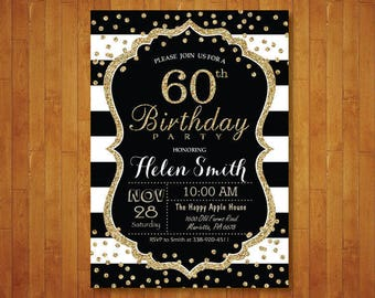 60th Birthday Invitation For Women Surprise Black And Gold Glitter Stripes Confetti Any Age Printable Digital