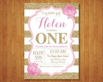 Pink And Gold First Birthday Invitation Girl Party Glitter White Black Stripes Floral Flowers Printable Digital