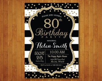 80th Birthday Invitation For Women Surprise Black And Gold Glitter Stripes Confetti Any Age Printable Digital