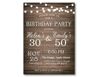 Joint birthday etsy adult joint birthday invitation joint birthday party invitation combined party co birthday rustic wood chalkboard printable digital filmwisefo
